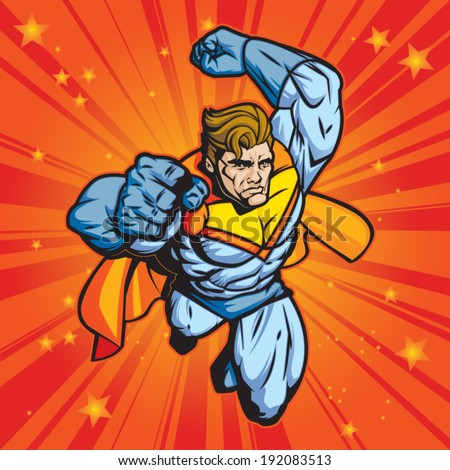 Generic superhero figure flying forward at a fast pace. Layered & easy to edit.  - stock vector