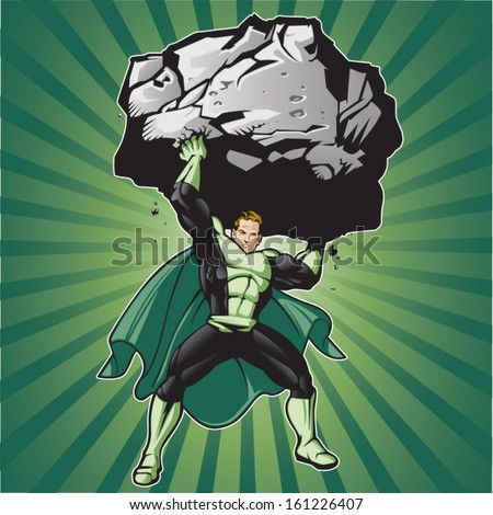 Generic superhero figure lifting a large boulder.  Layered & easy to edit. See portfolio for simular images. - stock vector