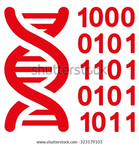 Genetical Code vector icon. Style is flat symbol, red color, rounded angles, white background. - stock vector