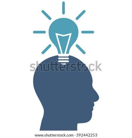 Genius Bulb vector icon. Image style is bicolor flat genius bulb pictogram drawn with cyan and blue colors on a white background. - stock vector