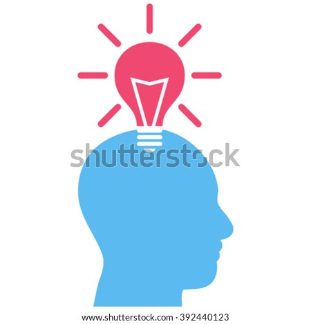 Genius Bulb vector icon. Image style is bicolor flat genius bulb pictogram drawn with pink and blue colors on a white background. - stock vector