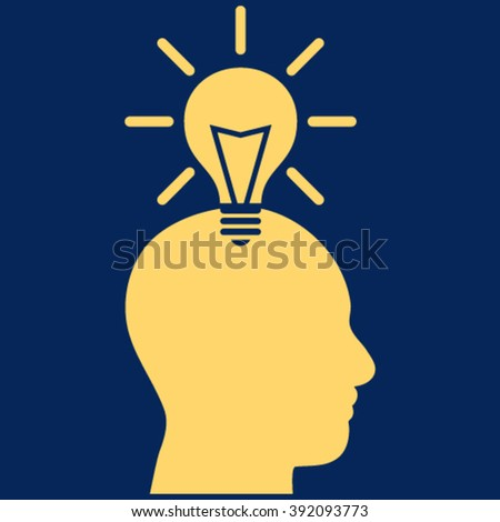 Genius Bulb vector icon. Image style is flat genius bulb pictogram symbol drawn with yellow color on a blue background. - stock vector