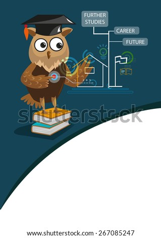 Genius Owl with Graduation Cap uses state of the art touchscreen computer to determine his career, lessons, class or future. Editable EPS10 vector and jpg illustration. - stock vector