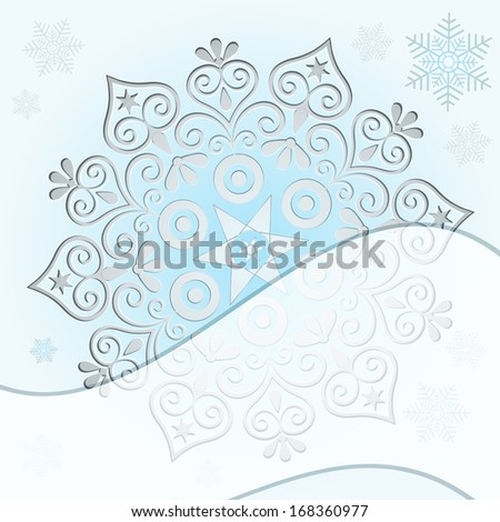 Gentle Christmas frame with silver snowflake and wave strip (vector eps 10) - stock vector