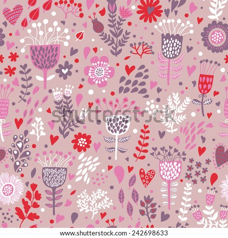 Gentle floral background with cute birds in vector. Seamless pattern can be used for wallpapers, pattern fills, web page backgrounds, surface textures. Gorgeous vector background in pink colors - stock vector