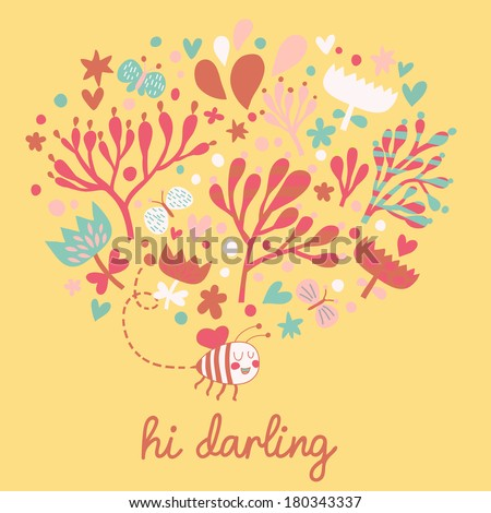 Gentle  floral card made of bee, flowers and butterflies. Ideal summer design for modern designs - stock vector