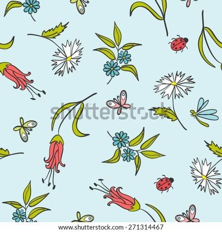 Gentle Floral Pattern - stock vector