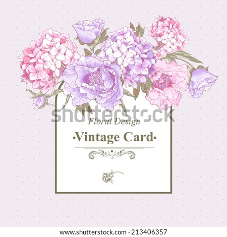 Gentle Pink Vintage Floral Greeting Card with Blooming Hydrangea and Peonies - stock vector
