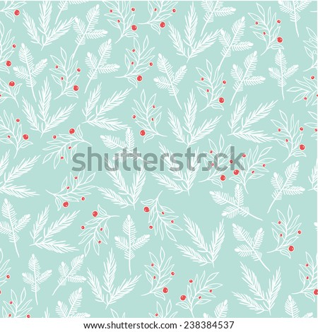 Gentle seamless turquoise background of branches and leaves. Christmas background. - stock vector