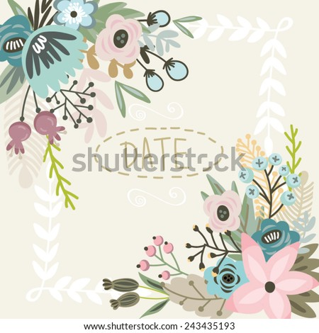 Gentle Vector Floral save the date card, Can be used for holidays, wedding and greeting cards. - stock vector