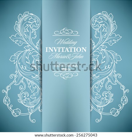 Gentle vintage wedding invitation card with floral elements. - stock vector