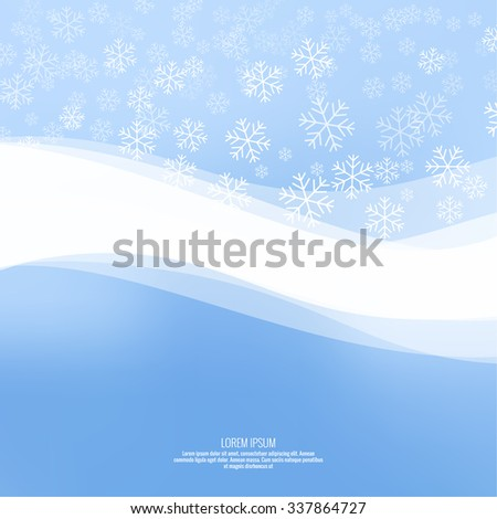 Gentle winter abstract background with falling scatter snowflakes, ice crystals and sparkles. Elegant backdrop for festive decoration. Vector design. - stock vector