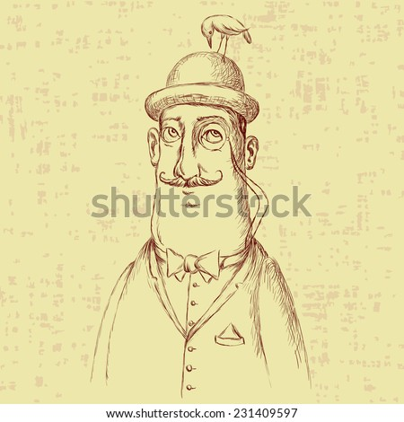 gentleman and a birdie on the bowler - stock vector