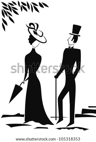 Gentleman and Lady in park, symbolic vintage style, black silhouette on white background. Vector illustration - stock vector