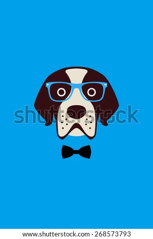 Gentlemen dog wear glasses and bowknot like a man, Fashion portrait of dog - stock vector