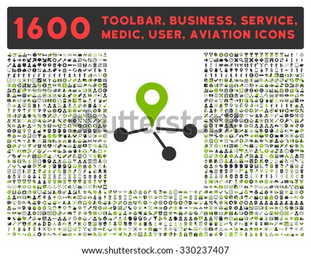 Geo Network vector icon and 1600 other business, service tools, medical care, software toolbar, web interface pictograms. Style is bicolor flat symbols, eco green and gray colors, rounded angles - stock vector