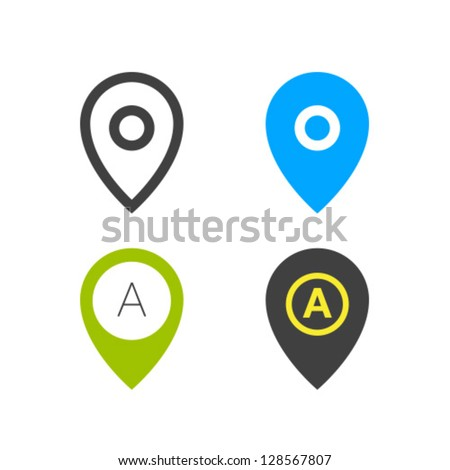 Geo Tag Pin Icon Vector Set - stock vector
