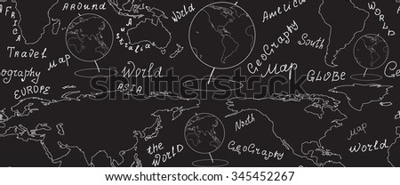 Geographic vector seamless pattern with world map and globes handwritten by chalk on grey board. Elements of this image furnished by NASA - stock vector