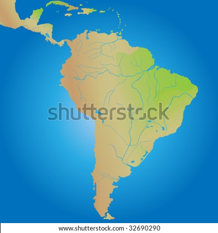 Geographical map of continent of South America - stock vector