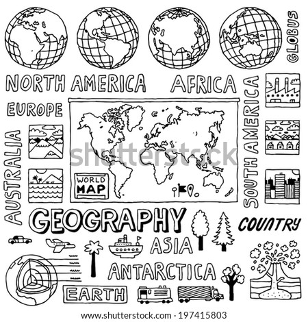 Geography doodles. Hand drawn. Vector illustration. - stock vector