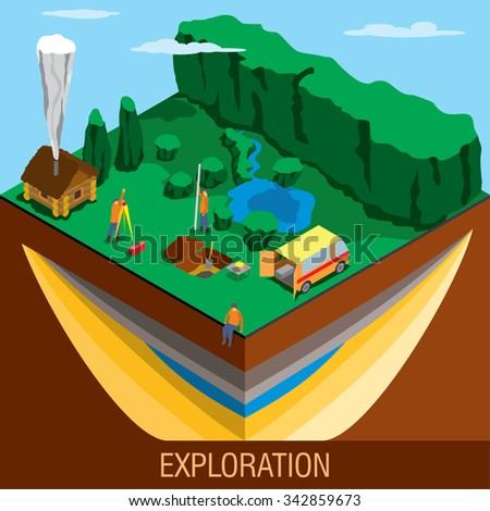 Geologists studying minerals in the ground - stock vector