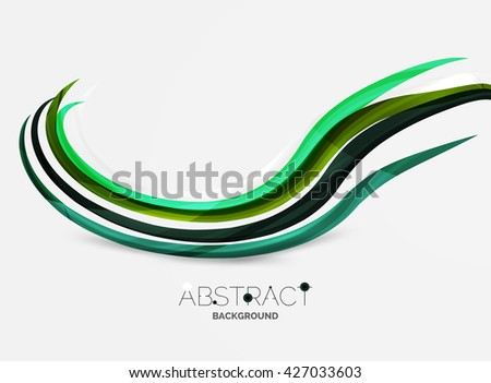 Geometric abstract background, swirl colorful lines - color curve stripes and lines in motion concept and with light and shadow effects. Presentation banner and business card message design template - stock vector