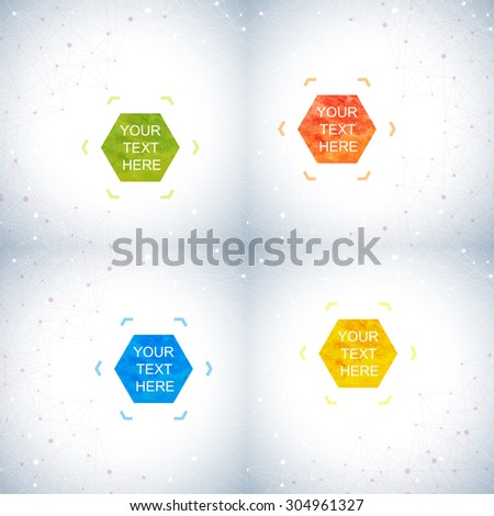 Geometric abstract background with connected lines and dots. Hexagonal  colorful vector shapes in the centre  for your text - stock vector