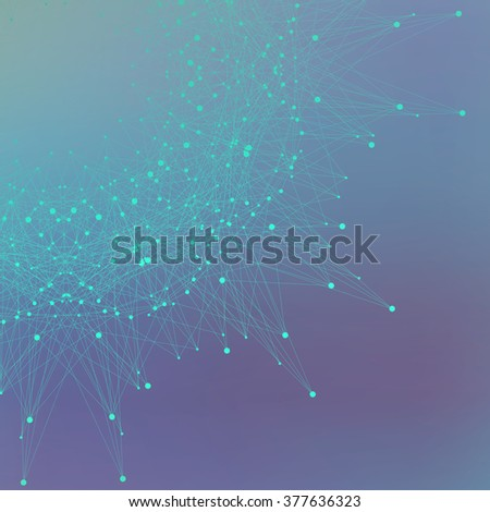 Geometric abstract form with connected line and dots. Futuristic technology object for your design. Vector illustration. - stock vector