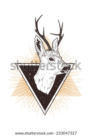 Geometric abstract hipster art with deer head. Dot work styled vector illustration. - stock vector