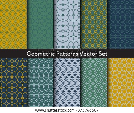 Geometric abstract objects patterns vector set in green, blue, yellow colors. Seamless patterns of triangles, hexes, polygons, diamonds, cubes, squares, hexagons. Big vector set of geometric figures.  - stock vector