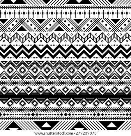 geometric abstract seamless pattern, ethnic style in black and white - stock vector