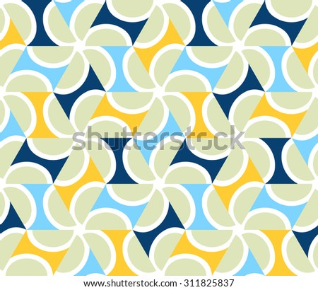 Geometric abstract seamless pattern motif background. Colorful shapes of pale green semicircles and yellow, blue, dark triangles. Hexagon composition - stock vector