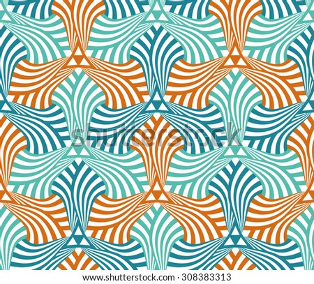 Geometric abstract seamless pattern motif background. Colorful teal, blue and orange swirled shapes composition - stock vector