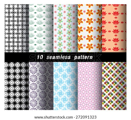Geometric and flower  Patterns. Retro Mod Backgrounds in Chevron,Checkerboard, Stars, Triangles, Herringbone and Stripes Patterns. Pattern Swatches with Global Colors - stock vector
