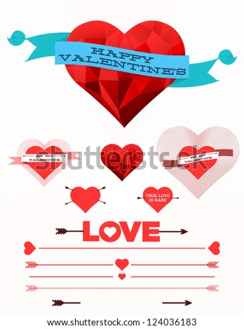 Geometric and traditional hearts with banners, ribbons and other design elements - stock vector