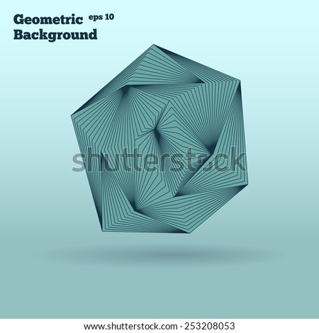 Geometric background of polyhedron. Futuristic technology style. - stock vector