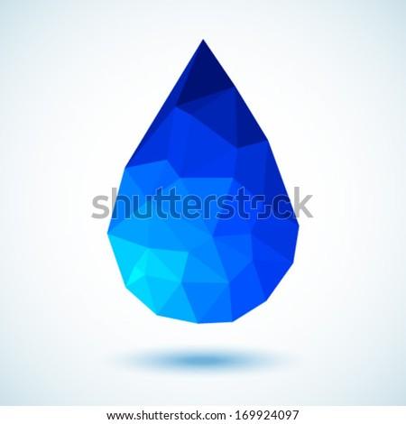 Geometric Blue Drop, vector illustration  - stock vector