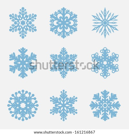 Geometric blue Snowflakes set - stock vector