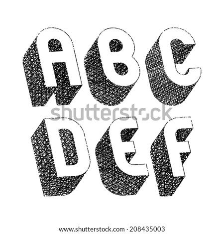 Geometric bold rounded 3d font with hand drawn lines textures, letters a b c d e f. - stock vector