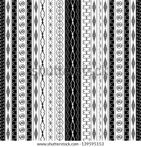 Geometric border patterns in black and white - stock vector