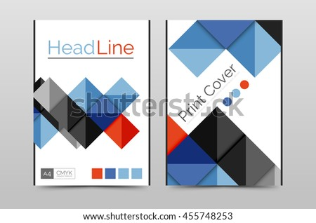 Geometric brochure front page, business annual report cover vector template, A4 size poster - stock vector