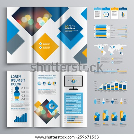 Geometric brochure template design with blue and orange square elements. Cover layout and infographics - stock vector