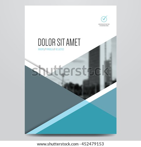 Geometric business brochure, flyer, poster, annual report, magazine cover vector template. Modern blue and grey corporate flat design. - stock vector