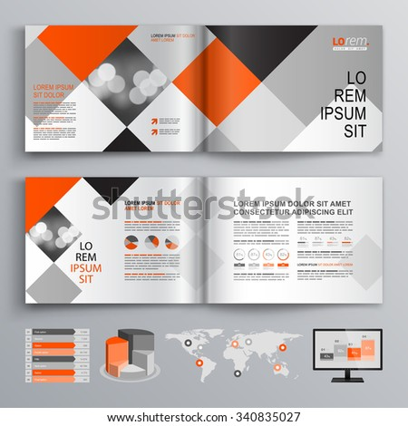 Geometric business brochure template design with red and gray square elements. Cover layout and infographics - stock vector