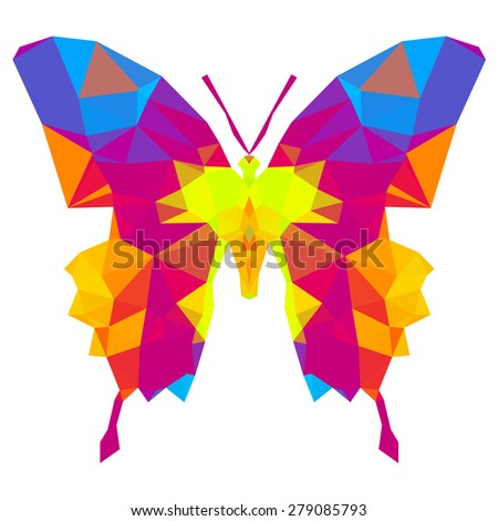 Geometric butterfly with many triangles - stock vector