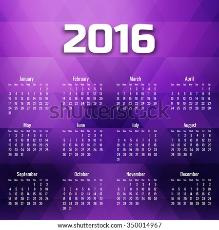 Geometric 2016 calendar in purple tones vector background - stock vector