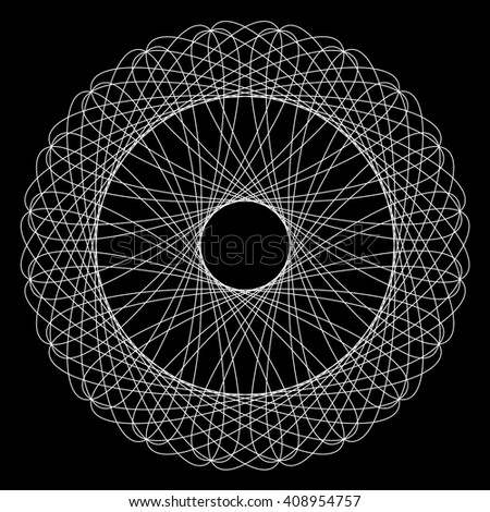 Geometric circular pattern of fine black lines on a white background. - stock vector