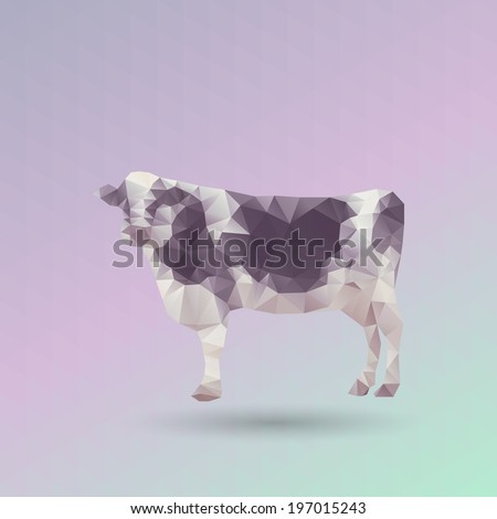 Geometric Cow on Triangle Pattern Background - Vector  - stock vector