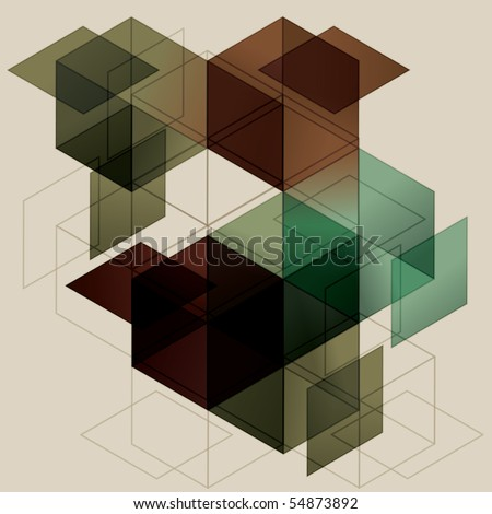 Geometric Cube Background. Eps10 with transparency - stock vector