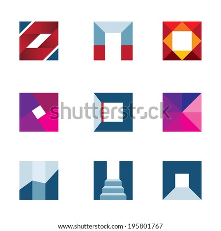 Geometric cube polygons creating walking to success professional icon - stock vector